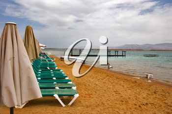 Royalty Free Photo of a Beach on the Dead Sea in Israel