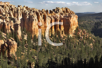 Abrupt breakage in Bryce canyon in state of Utah in the USA