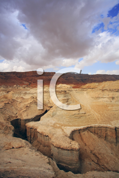 Huge dry sandy canyon in ancient mountains of the Dead Sea