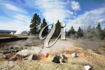 Geothermal mineral waters in fine autumn day in Yellowstone national Park