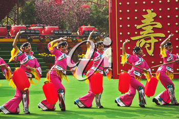 Performance of dancing ensemble in honour of the Chinese New year