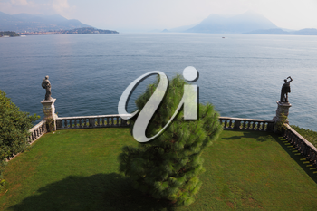 Terrace, adorned with sculptures, on the waterfront. Park on the island of Isola Bella on Lake Maggiore