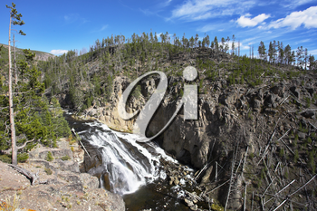 Rough stream of mineral water of river Gibbons in Yellowstone national park