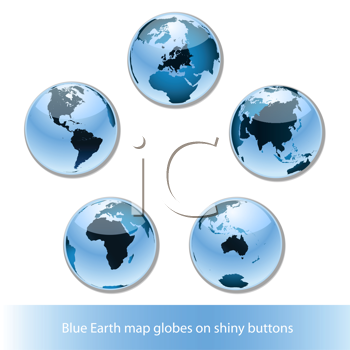 Royalty Free Clipart Image of Five Blue Globes