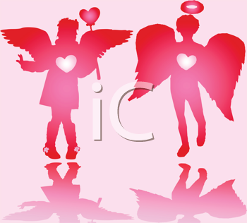 Royalty Free Clipart Image of a Pair of Valentine Angels on Pink