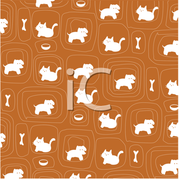 Royalty Free Clipart Image of a Cat and Dog Pattern