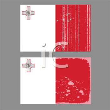 Royalty Free Clipart Image of Two Worn Maltese Flags on Grey