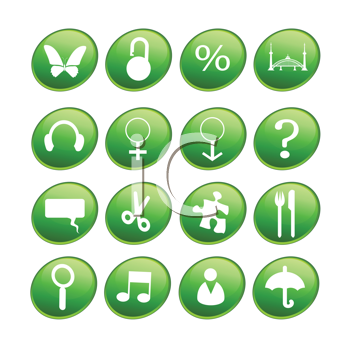 Royalty Free Clipart Image of Green Buttons