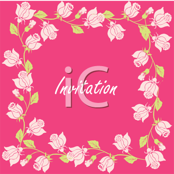 Royalty Free Clipart Image of Roses on an Invitation