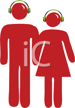 Royalty Free Clipart Image of People With Headsets