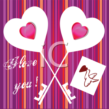 Royalty Free Clipart Image of Two Heart Keys on a Striped Background
