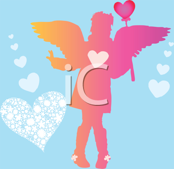 Royalty Free Clipart Image of a Valentine Girl With Wings and Hearts