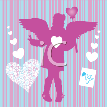Royalty Free Clipart Image of a Valentine Girl With a Bird and Hearts