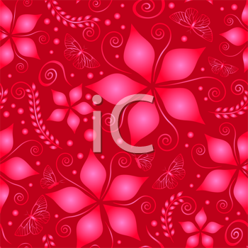 red and pink pattern with flowers and butterflies