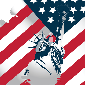 american flag stylized with statue of liberty