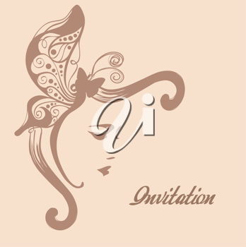 invitation card with girl and stylised butterfly