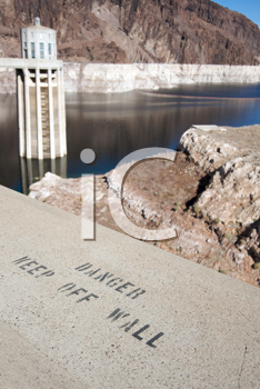 Royalty Free Photo of a Danger Danger Sign at the Hoover Dam