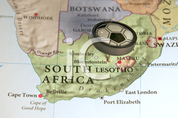 Royalty Free Photo of a South African Map Pinpointing the World Cup Location
