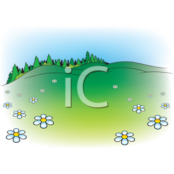 Royalty Free Clipart Image of a Summer Cartoon Scene