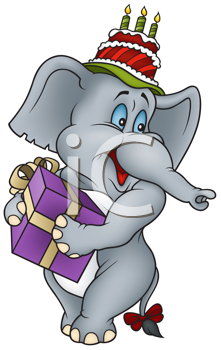 Royalty Free Clipart Image of an Elephant With a Cake and Present