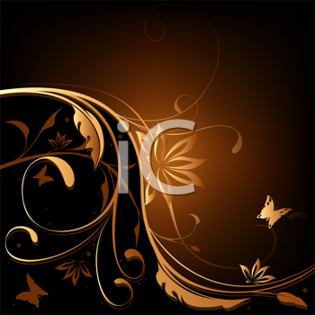 Royalty Free Clipart Image of a Floral and Butterfly Background