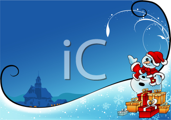 Royalty Free Clipart Image of a Santa Snowman With Presents Pointing Towards a Church