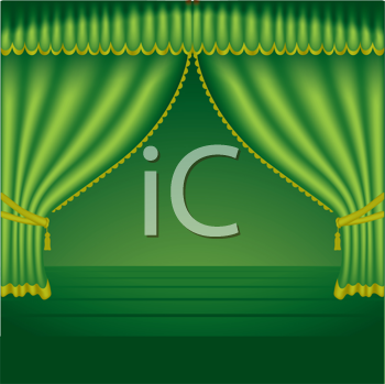 Royalty Free Clipart Image of Green Theatre Curtains