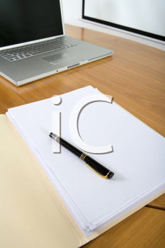 Royalty Free Photo of an Open File on a Desk