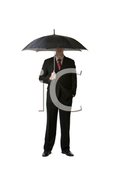 Royalty Free Photo of a Man in a Suit With an Umbrella