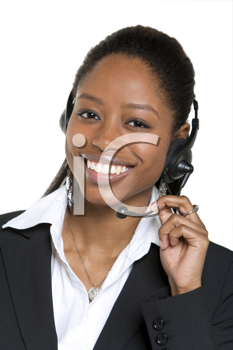 Royalty Free Photo of a Black Woman on a Headset