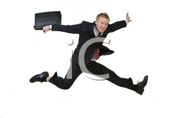 Royalty Free Photo of a Man Leaping With a Satchel