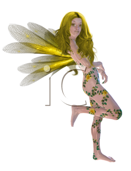 Royalty Free Clipart Image of a Fairy With Yellow Wings