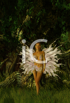 Royalty Free Clipart Image of a Glittering Fairy in a Forest