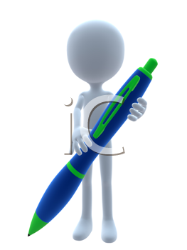 Royalty Free Clipart Image of a 3D Guy With a Pen