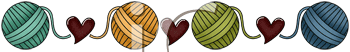 Royalty Free Clipart Image of a Yarn and Heart Border