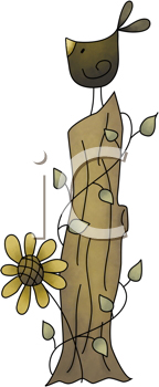 Royalty Free Clipart Image of a Crow on a Stump