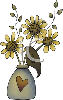 Royalty Free Clipart Image of Sunflowers in a Vase With a Crow on the Side