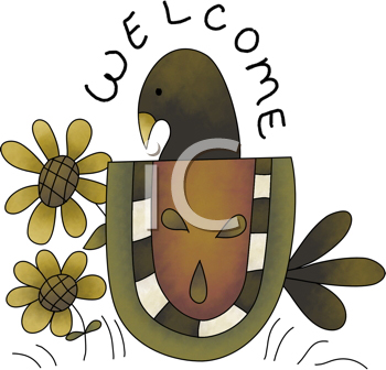 Royalty Free Clipart Image of a Garden Welcome With a Bird and Flowers