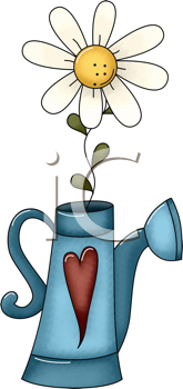 Royalty Free Clipart Image of a Daisy in a Sprinkling Can