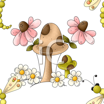 Royalty Free Clipart Image of a Toadstool, Flower and Dragonfly Background