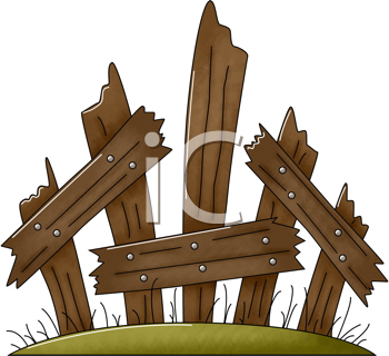 Royalty Free Clipart Image of a Broken Fence