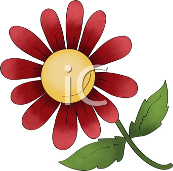 Royalty Free Clipart Image of a Red Flower