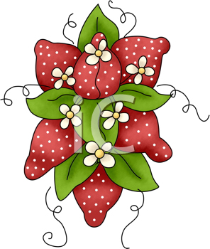 Royalty Free Clipart Image of a Strawberries and Blossoms