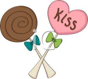 Royalty Free Clipart Image of a Kiss Sucker and a Chocolate Sucker