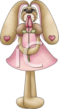 Royalty Free Clipart Image of a Bunny in a Pink Dress With a Flower