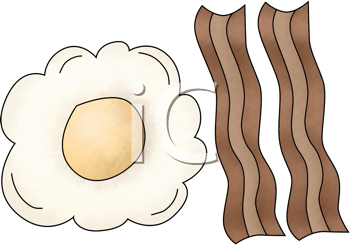 Royalty Free Clipart Image of Bacon and Eggs
