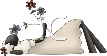 Royalty Free Clipart Image of a Sheep Lying Down Smelling Flowers