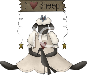 Royalty Free Clipart Image of a Sheep and Crow Under I Love Sheep