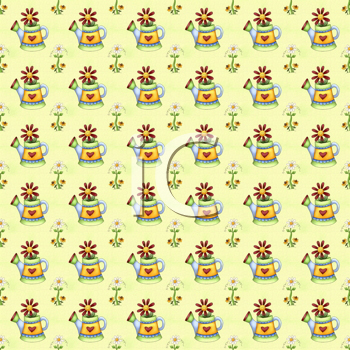 Royalty Free Clipart Image of a Floral Background With Watering Cans