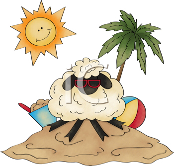Royalty Free Clipart Image of a Sheep on a Tropical Island